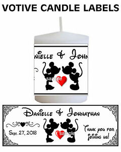 DISNEY WEDDING MICKEY AND MINNIE MOUSE WEDDING FAVORS CANDLE LABELS