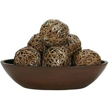 Nearly Natural Set of 6 White Patterned Brown Decorative Balls (Balls only) NEW
