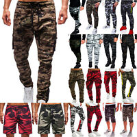 Men's Camo Joggers Jogging Sweat Pants Shorts Military Army Sports Summer Casual