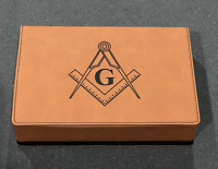 """Masonic Flask Gift Set - Fine Tan Leather - """"Square & Compass"""" Laser Engraved"""