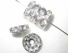 100 Swarovski Rondelles Spacer Beads 8mm Silver / Crystal SR801
