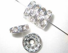 100 Swarovski Rondelles Spacer Beads 8mm Silver / Crystal SR801