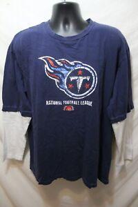 VTG Tennessee Titans NFL Apparel Pullover T-shirt Blue Men's Sz 2XL 100% Cotton
