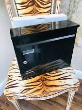 NEW HOME ICON BLACK METAL POST BOX WITH KEY