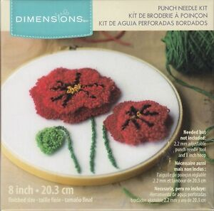POPPIES Punched Needle Kit 20.3cm Diameter, 72-75797, Tracked Post