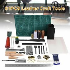 61Pcs Leather Craft Working Tools Kit Hand Sewing Supplies Stitching Groover USA