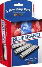 HOHNER BLUES BAND 3P1501BX VALUE PACK HARMONICAS 3 HARP KEYS A,C,G NEW SALE