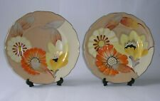 More details for pair of original gray's pottery art deco plates - floral & gilt handpainted.
