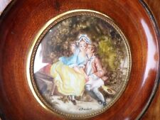 Peinture Miniature-Scène galante-d'après Pierre-Antoine Baudouin-Cadre