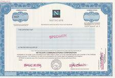 Netscape Communications Corp Specimen Stock Certificate Ipo Internet Rare!
