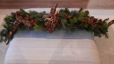 LUXURIOUS FAUX PINE CHRISTMAS GARLAND WITH TARTAN RIBBON, CONES AND BERRIES