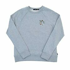 Obey Small Gray Crew Pullover Sweater Top Womens Flora Liberte
