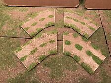 """28mm, 3"""" (rural) 1/8 turn road sections,  4pc,  PAINTED"""