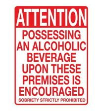 "Adult Only Prank Business Tin Sign Alcohol Beverages upon this property  ""NEW"""