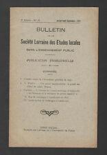 █ Bulletin Société LORRAINE Etudes Locales 1931 N°10 █