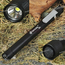 Black MXDL 3W LED Mini Pen Torch Flashlight 2 * AAA Battery Torch With Belt Clip