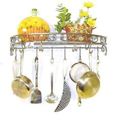 Iron Hammered Silver hand forged scroll wall pot rack  10 single & double hooks