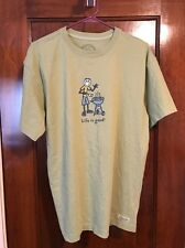 Life Is Good Men Size Small Green Cotton Short Sleeve Tee Shirt Grill BBQ