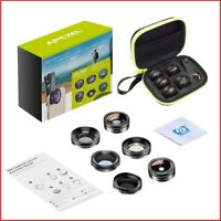 APEXEL 6 in 1 Phone Camera Lens Kit Wide Angle macro Lens Fish Eye Lens CPL/Star