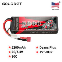 GOLDBAT 5200mAh 80C 7.4V 2S LiPo Battery Hardcase Deans for RC Car Truck Truggy