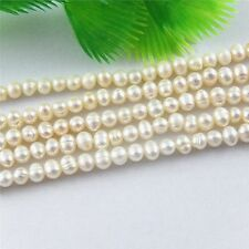 White Natural Fresh Water Pearl Irregular Loose Beads Dia 4mm 1 Strand 14.5''