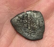 NICE Potosi 1 Real 1662 E DATED silver shipwreck treasure Florida AUTHENTIC