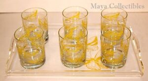 VINTAGE MID-CENTURY MODERN LUCITE BUTTERFLY TRAY WITH 6 MATCHING GLASSES