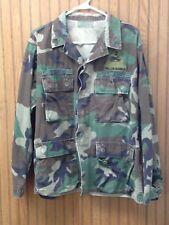 Woodland BDU Military Shirt Men's Medium Short Battle Fatigues Green Camo Army
