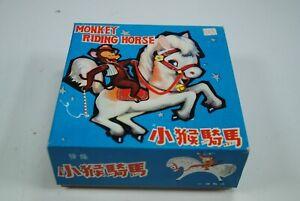 Vintage Tin Litho Wind Up Monkey Riding Horse Original Box Works (No Key) MS 764