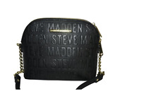 NWT STEVE MADDEN BMAGGIE LOGO CROSSBODY BAG BLACK FAUX LEATHER PURSE