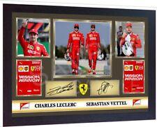 Sebastian Vettel Charles Leclerc signed autographed Framed pre-print poster