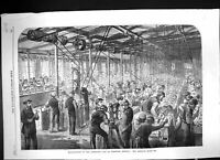 Old Print 1862 Manufacture Armstrong Gun Woolwich Arsenal Beehive Workers 19th