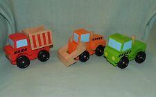 Melissa & Doug Stacking Construction #3076 Wood Vehicles Mixer Loader Dump Truck
