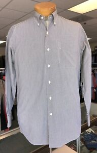 Lauren Ralph Lauren Long Sleeve Black & White Striped Shirt - Size 15x32/33