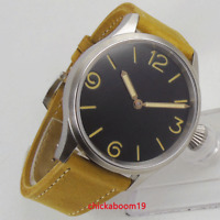 Mechanical Hand Winding movement PARNIS Black Dial Sapphire Glass Lesther strap