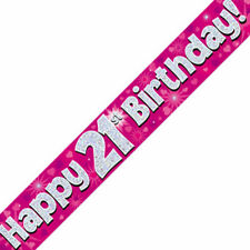 Happy 21st Birthday Hearts Banner 270 Cm Long Repeats 3 Times Holographic Pink