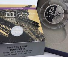 France 2014 Tour Eiffel Rives Seine 50 euros € Silver Proof 5 Oz Chaillot UNESCO