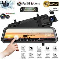 10'' Dual Lens Touch Car DVR Rearview Mirror HD 1080P Camera Recorder Dash Cam