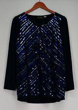 Bob Mackie Top M Long Sleeve V-Neck Knit Tunic w/ Sequin Stripes Dark Blue New