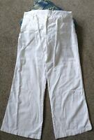 Next Ladies white linen trousers uk12 petite summer holiday cruise beach casual