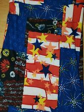 New listing Lularoe T&C Leggings Patchwork Patriotic Star, Flag, Fireworks, Flowers. Euc.
