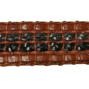 VTG Mens Bally Brown Italian Weaved Leather Belt with Gold Horse Shoe Buckle