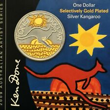 """2009 $1 Selectively Gold Plated 1oz Fine Silver """"Ken Done"""" Kangaroo Coin"""