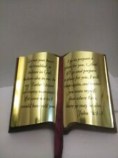 Home Interiors Bible John 14:1-3  Brass Pages Wall Plaque 1992 in box