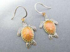 Vintage Sterling Orange Brown Enamel Sea Ocean Turtle Dangle Pierced Earrings