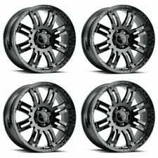 Set 4 16x8 Vision Off Road Warrior Gloss Black 6x55 Wheels 0mm Rims With Lugs Fits 2004 Toyota Tundra
