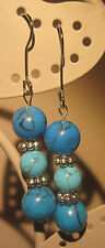 Handmade Turquoise Silver Plated Stone Costume Earrings