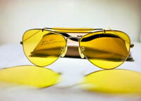 Vintage USA Made B&L Ray Ban Sunglasses 24K GOLD AVIATOR  Ambermatic 58mm