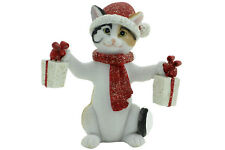 Cat Xmas Holding 2 Presents Figurine Red Beanie Approx 8cm H