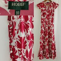 Vintage Hobbs Sheath Peplum Midi Tea Dress Ruby Pink Button Cap Sleeve Size 10